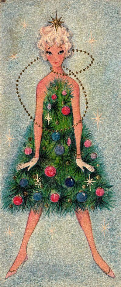 woman dressed as tree